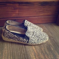 ZARA snow leopard pony hair espadrille sneakers Slip-on sneakers are the trend this season BIG TiME (even Victoria Beckham has ditched her infamous heels for them)...and needless to say - these pony hair (calf?) flat sneakers are ADORABLE! In excellent condition! Run small - could fit 10 to 10.5, too. Zara Shoes