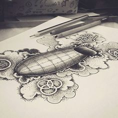 Great looking #airship #tattoo design by Valeria Cika Bruschi (@truelovebyval) depicting a #dirigible... or rather a zeppelin surrounded by a few #stippling shaded #clouds and #symbols referencing the #classicrock #band #LedZeppelin. It's a pretty cool piece. I like the shape of the #fins on the back of the #zeppelin the way the symbols appear to be branded directly into the #clouds and the mix of #cloud designs (some with crisp clean lines & some with white borders and #pointillism black…