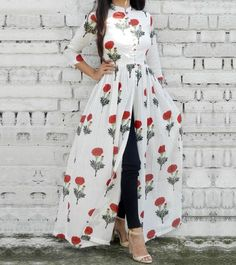 Floral open dress with jeans-Mix and match summer casual wear – Just Trendy Girls Floral offenes Kle Indian Gowns Dresses, Indian Fashion Dresses, Dress Indian Style, Indian Designer Outfits, Indian Outfits, Stylish Dresses For Girls, Stylish Dress Designs, Designs For Dresses, Arab Fashion