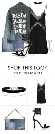 """Denim, Silk & Lace"" by breannamules ❤ liked on Polyvore featuring Miss Selfridge, Dsquared2 and Gianvito Rossi"