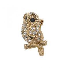 Rhinestone `Baby Owl` Brooch