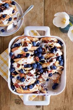 Blueberry-Pecan Pancake Bread Pudding: Bread pudding and pancakes at the same time? Yes, it's as amazing as it sounds. Click through to find more easy make-ahead breakfast casserole recipes.
