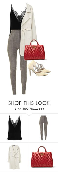 """Untitled #1500"" by dissolving-film ❤ liked on Polyvore featuring Balmain, Violeta by Mango and Gucci"