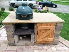 stone table complete - Big Green Egg - EGGhead Forum - The Ultimate Cooking Experience. Big Green Egg Grill, Big Green Egg Outdoor Kitchen, Big Green Egg Table, Outdoor Kitchen Patio, Outdoor Kitchen Countertops, Green Eggs, Outdoor Living, Outdoor Kitchens, Green Egg Cooker