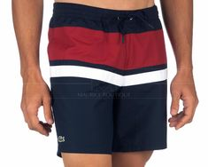 Bañadores LACOSTE ® Hombre ✶ Azul Marino Rayas | ENVÍO GRATIS Jogger Pants, Joggers, Camisa Polo, Swimsuits, Swimwear, Swim Shorts, Fitness Fashion, Capri, Bermudas