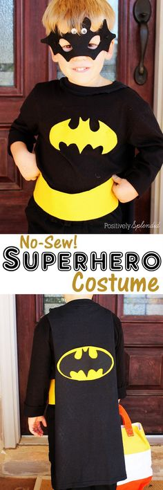 No-sew superhero costume at Positively Splendid #MichaelsMakers