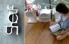 Designer Da-Eun Song had an interesting idea when he designed this shelf that spells out shelf.