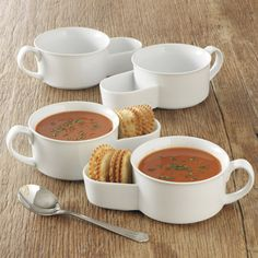 White Porcelain Soup And Cracker Bowls.