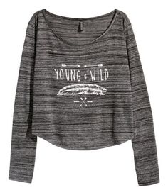 Short top in dark grey slub jersey with white graphic feather & arrow print. | H&M Divided