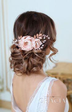 DIONA Rose Gold Blush Bridal Hair Flower With Crystal For Bridesmaid by TopGracia #topgraciawedding #bridalhairaccessories #weddinghairflower #hairflower #blushwedding