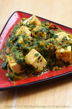 Palak Tofu (Tofu in Curried Spinach Sauce)- I actually prefer to use silken soft tofu