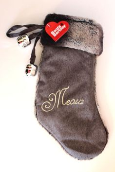 BOOTS & BARKLEY Pet Cat MEOW Fur Holiday Christmas Stocking with Bells - NWT #BootsBarkley