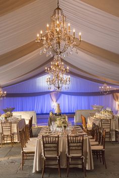 Blush and Cream Reception Tent With Gold Chandeliers | photography by http://www.ellisphotostudio.com/