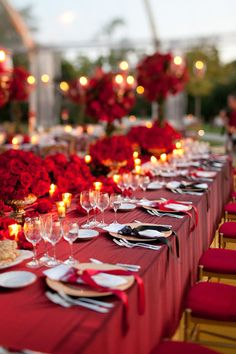 Bold reception table decor