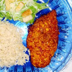 """Baked Paprika-Parmesan Chicken ~ This easy recipe takes chicken breasts breaded with a Parmesan and paprika coating is baked until golden and crispy. This unique combination of ingredients makes a fantastic dish that all your family will love."""" -"""