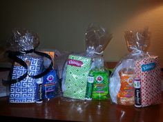 Useful Thank you gifts for nurses (or anyone really). Less than $2.50 each!  Chapstick, hand sanitizer & pack of tissues
