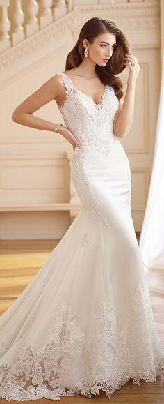 Stretch Satin Lace Bodice Fit   Flare Wedding Dress- 217225 Frances da6e82f48370