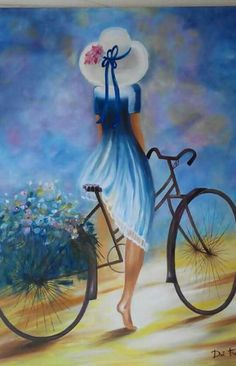 (Watercolor) Girl with a hat on bike. Indian Art Paintings, Beautiful Paintings, Art And Illustration, Art Pictures, Art Girl, Creative Art, Watercolor Paintings, Art Drawings, Canvas Art
