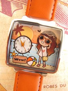 Girl on the beach hand painted watch with Orange by NaniWatch, $35.00