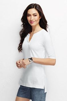 Women's Elbow Sleeve Lightweight Cotton Modal Embroidered Tunic from Lands' End