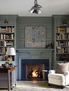 fireplace flanked by bookcases - Google Search