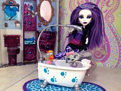 "OOAK MONSTER HIGH Spectra Vondergeist ""Puppy Tubby Time"" Doll / Outfit / Pet - Monster High Doll - Custom - Spectra Vondergeist - Repaint"