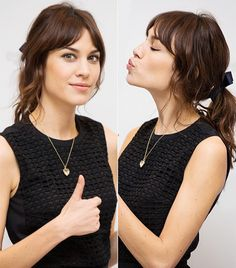 Gah! I just LOVE Alexa Chung's messy, ribbonned, party-ready ponytail. (via @Who What Wear)