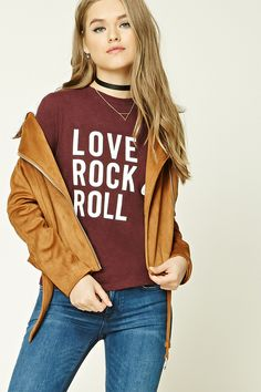 """A cotton tee featuring a """"Love Rock & Roll"""" graphic on front, round neckline, and short sleeves."""