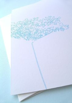 bright blue detailed flower set of 6 note