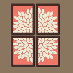 Bold Coral Ivory Flourish Design Artwork Set of 4 by trmDesign, $33.00
