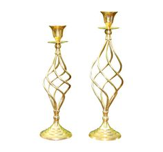 Brass Swirl Hollywood Regency Deco Candlesticks – ABBY ESSIE