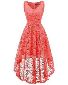 New Bridesmay Bridesmay Women Vintage High Low Sleeveless Floral Lace Cocktail Party Swing Dress online Elegant Homecoming Dresses, High Low Prom Dresses, Lace Evening Dresses, Elegant Dresses, Dress Lace, Maxi Dresses, Party Dresses, Bridesmaid Dresses, Very Short Dress