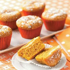 Taste of Home Pumpkin Cake Recipes - Pumpkin cake is the perfect dessert for fall and winter. With variations like pumpkin cupcakes and pumpkin spice cake, find the best pumpkin cake recipe for every occasion. Cupcake Recipes, Cupcake Cakes, Dessert Recipes, Just Desserts, Delicious Desserts, Yummy Food, Fall Desserts, Pumpkin Cupcakes, Pumpkin Dessert