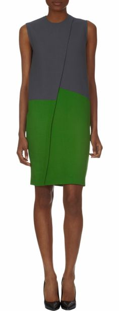 We like the way these colors work together. Cedric Charlier Color-Block Sleeveless Dress at Barneys.com. #moodfabrics