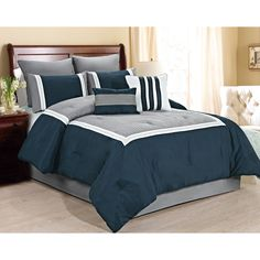 This chic Comforter Set is delicately complemented with embroidery and quilting details. This set offers a classic hotel look which is guaranteed to give your bedroom a modern makeover. Bedroom Sets, Home Bedroom, Bedroom Decor, Master Bedroom, King Quilt Bedding, Queen Comforter Sets, Gray Comforter, King Comforter, Duvet