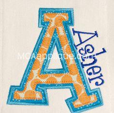 MCA January Applique Alphabet