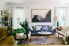 Not a Berber rug (it's a Turkish rug), but a very good example of how to style a room with a long, narrow rug as Moroccan rugs tend to be.
