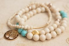 Creamy White River Stone / Turquoise / Faux Peal / Stacking / Gold Filled / Vermeil / Charm Bracelets