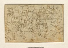 """Weiditz, Hans, Oberrhein, [nach 1532] (Current attribution), Deer hunting and pleasance (dt.:Hirschjagd und Lustgarten), Drawing : grey ink, 15,8 x 10,6 cm, UB Erlangen.  Remark: The appropriate woodcut in: Petrarch """"Von der Artzney bayder Glück"""" (De remediis utriusque fortunae), Augsburg 1532, the design was created in 1519/20. The question is if it is a copy of  the woodcut or is it the one and only design drawing of Master of Petrarch."""