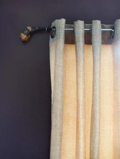 With a little imagination and a few simple DIY tricks, create one-of-a-kind hardware and tiebacks for your curtains from everyday objects.~ golf club for a rod~ Curtain Rod Brackets, Curtain Hardware, Drapery Rods, Curtain Rods, Curtain Hanging, Golf Club Crafts, Golf Room, Golf Theme, Kitchen Window Treatments