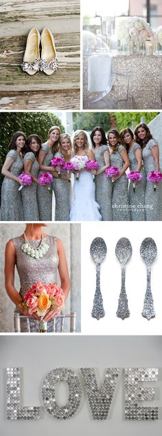 SPARKLE! #glitter #wedding love the details in these bridesmaids dresses but want Rose Gold