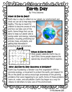Earth Day vs. Arbor Day- Comparing and Contrasting Holidays Close Read is a mini-pack containing two pieces of informational text on holidays, a compare and contrast activity, as well as an opportunity to ask and answer text-based questions. This packet is informative and addresses the specific difference between Earth Day and Arbor Day.