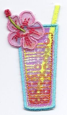 Beverages Tropical Drink w Sequins Iron on Applique   eBay