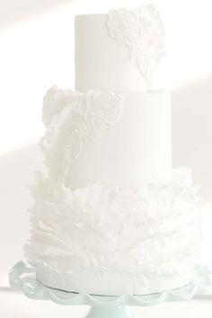 An Elegant Pastel Ruffled Styled Shoot | Weddingbells Pretty Wedding Cakes, Unique Wedding Cakes, Acrylic Chair, Blue Accents, Pastel Blue, Wedding Gowns, Unique Jewelry, Magazine, Elegant