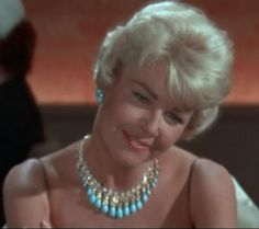 """Doris Day's Turquoise diamond and gold necklace with matching earrings by Laykin. From the movie """"Pillow Talk""""!"""