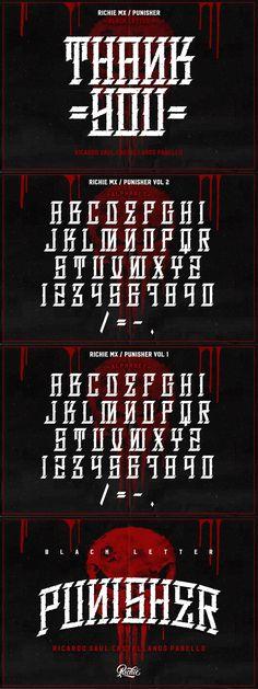 Punisher (Gothic Font) Punisher, Sacred Heart Tattoos, Gothic Fonts, Baja California Sur, Facebook, Social Networks, Instagram, Socialism, The Punisher