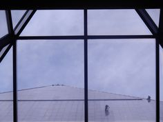 A view of the window cleaning of the pyramid from inside the Luxor walkway.