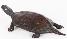 Bronze sculpture by Japanese sculptor Murata Seimin (1761 - 1837) depicting a turtle. An identical bronze sculpture is found in the British museum. Stamp. Japan. Early 19th century.  #Art #Bronze #MurataSeimin #Sculpture #Japanese #turtle #19thcentury #BellamysWorld