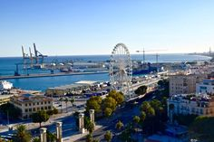 View of the Malaga wheel and port