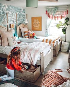 Marie Kondo Mondays- Interview with a KonMari Consultant and Clothes - Nesting With Grace Folding Clothes with a Marie Kondo Consultant Vintage Girls Rooms, Room, Shared Girls Bedroom, Shared Kids Room, Home Decor, Room Inspiration, Room Decor, Bedroom Decor, Kid Room Decor